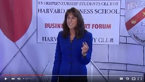 Barbara speaking at Harvard Business School